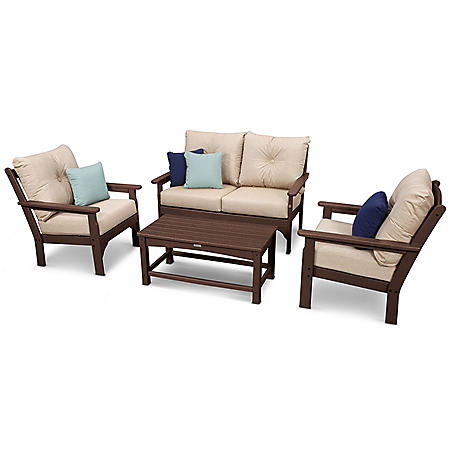 Classics 4-Piece Settee Seating Set by Ivy Terrace, Mahogany/Cast Ash