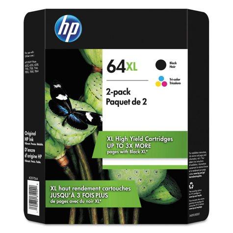 HP 64XL High Yield Original Inkjet Cartridge, Black/Tri-Color (2 pk.)