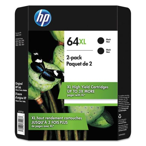 HP 64XL High Yield Original Inkjet Cartridge, Black (2 pk.)