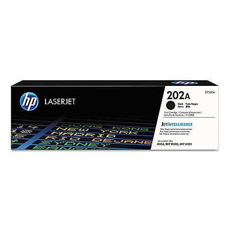 HP 202A (CF500A) Black Original Toner, 1400 Page-Yield