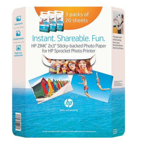 "HP Zink Sticky-backed Photo Paper - 3 pk. (60 sheets) 2"" x 3"""