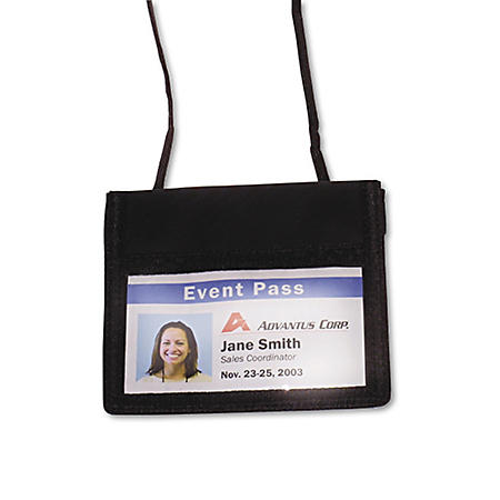 Advantus ID Badge Holder w/Convention Neck Pouch, Horizontal, 4w x 2 1/4h, Black, 12 Pack