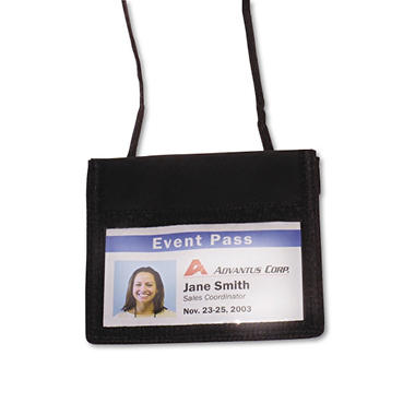 Advantus ID Badge Holder w/Convention Neck Pouch, Horizontal, 4w x 2 1/4h, Black, 12 Pack