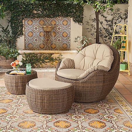 Royal Garden Kenton 3-Piece Wicker Outdoor Seating Set with Ottoman