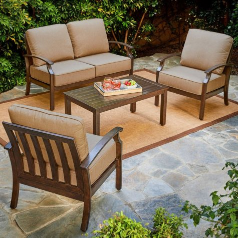Royal Garden Oakmont 4-Piece Patio Conversation Set (Various Colors)