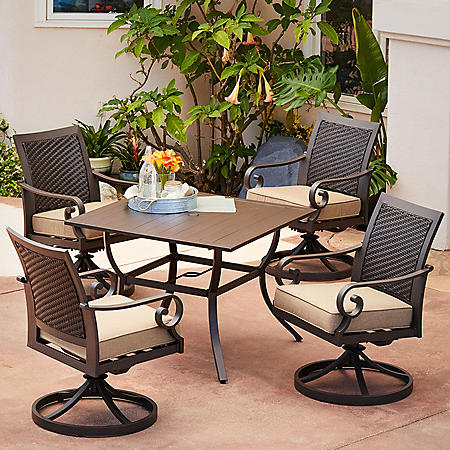 Royal Garden Monte Carlo 5-Piece Patio Dining Set with Swivel Dining Chairs (Various Colors)
