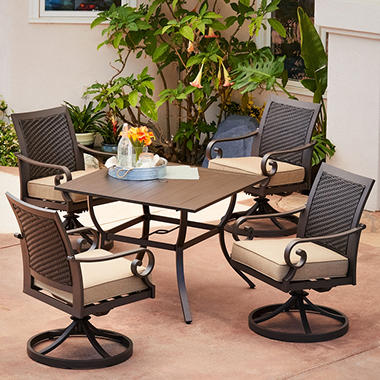 Royal Garden Monte Carlo 5 Piece Patio Dining Set With Swivel Dining Chairs  (Various
