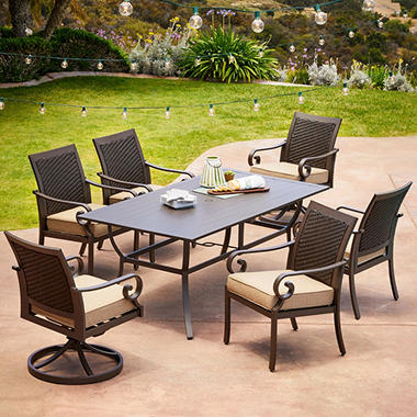 Royal Garden Monte Carlo 7 Piece Patio Dining Set With Two Swivel Dining  Chairs (