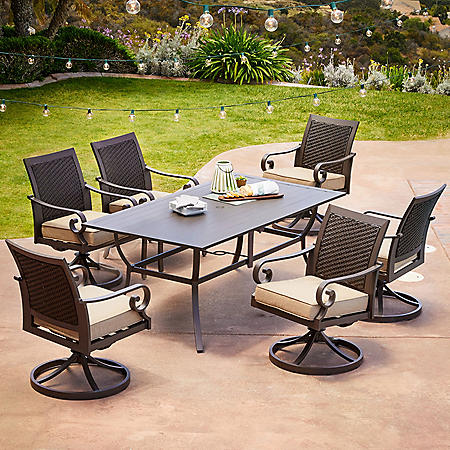 Royal Garden Monte Carlo 7-Piece Patio Dining Set with Swivel Dining Chairs (Various Colors)