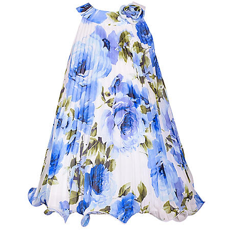 Jessica Ann Floral Crystal Pleated Dress