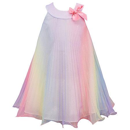 Jessica Ann Girls Rainbow Glitter Mesh Crystal Pleat Dress