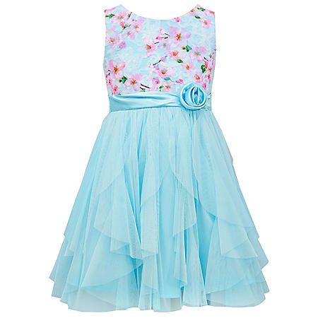 Jessica Ann Girls Blue Floral Cascade Dress