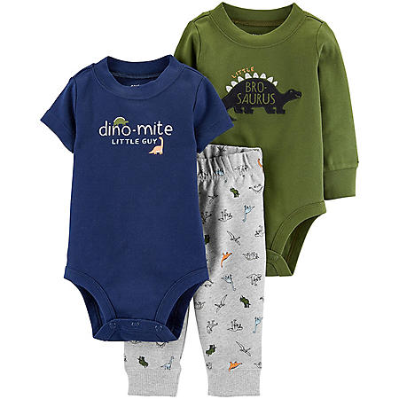 Carter's 3-Piece Green Dino Bodysuit Pant Set