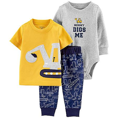 Carter's 3-Piece Navy and Yellow Construction Bodysuit Pant Set
