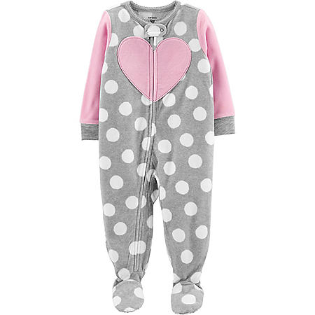 Carter's 1-Piece Heart Fleece Footie PJs