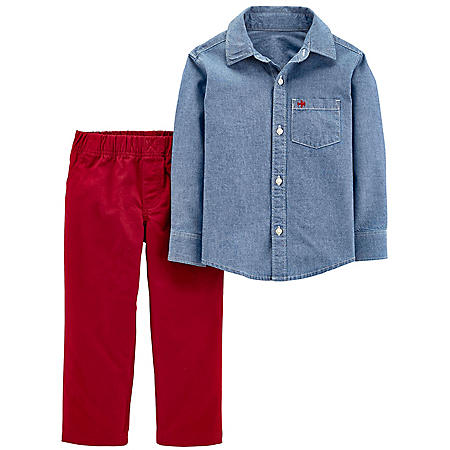 Carter's 2-Piece Chambray Button-Front & Canvas Pant Set
