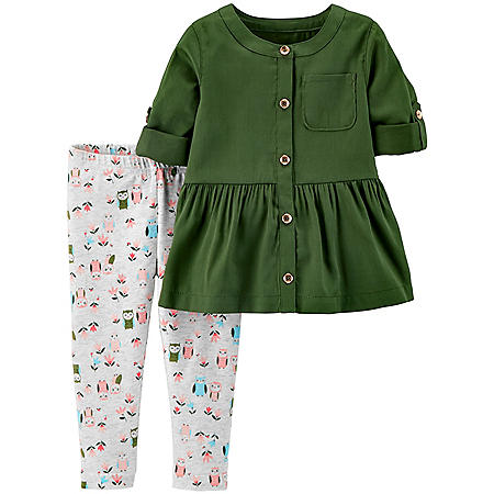 Carter's 2-Piece Button-Front Ruffle Top & Owl Legging Set
