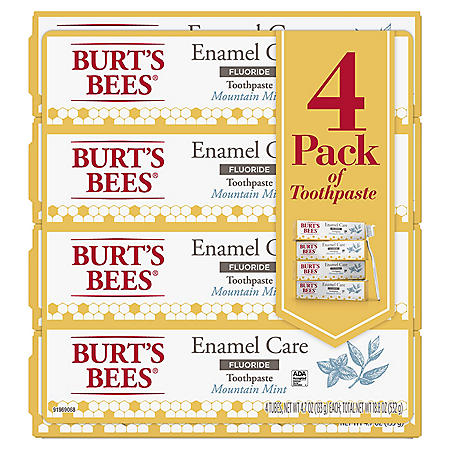 Burt's Bees Enamel Care Mountain Mint Toothpaste with Fluoride (4.7 oz., 4 pk.)