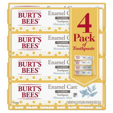 Burt's Bees Enamel Care Mountian Mint Toothpaste with Fluoride (4.7 oz., 4 pk.)