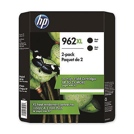 HP 962XL High Yield, Black Original Ink Cartridge, 2 Pack