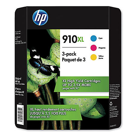 HP 910XL, High Yield Cyan/Magenta/Yellow Original Ink Cartridge, 3 Color Pack