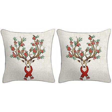 Holiday Pillow, Set of 2 (Reindeer)