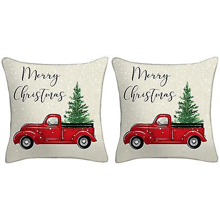 Holiday Pillow, Set of 2 (Truck)