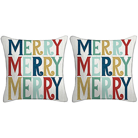 Holiday Pillow, Set of 2 (Multicolor Merry)