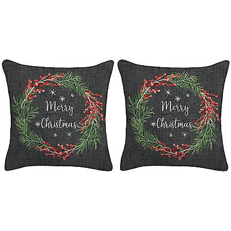 Holiday Pillow, Set of 2 (Grey)