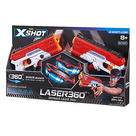 X-Shot Laser360° Double Laser Blaster Pack (Includes 2 Blasters, 2 Sets of Goggles)