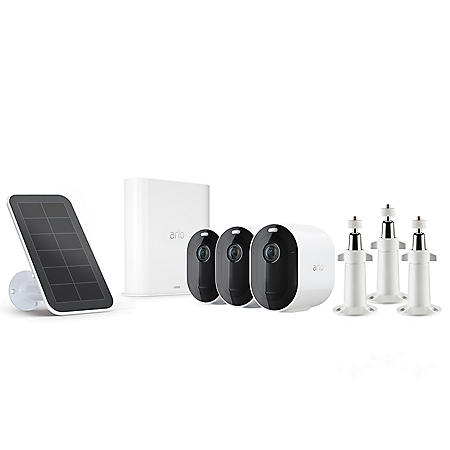 Arlo Pro 3, 3 Pack Wire-Free Security Camera System with Bonus Solar Panel and Outdoor Secuirty Mounts