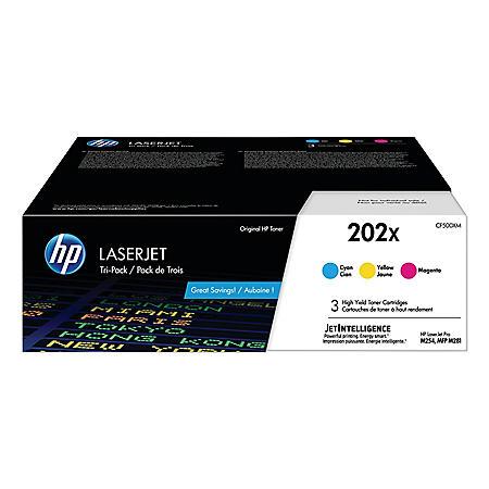 HP 202X, 3-Pack High Yield Cyan/Magenta/Yellow Original LaserJet Toner Cartridges