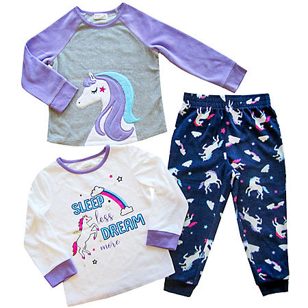 Member's Mark Girl's 3-Piece Fleece Pajama Set (Various Styles)