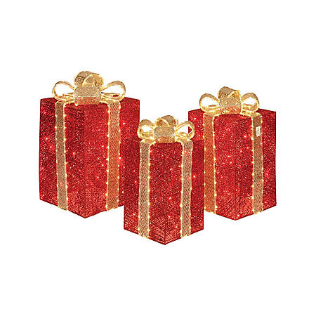 Member's Mark 3-Piece Glittering Presents (Red)