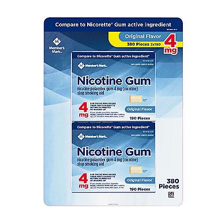 Member's Mark 4 mg Nicotine Polacrilex Gum, Uncoated Original Flavor (380 ct.)