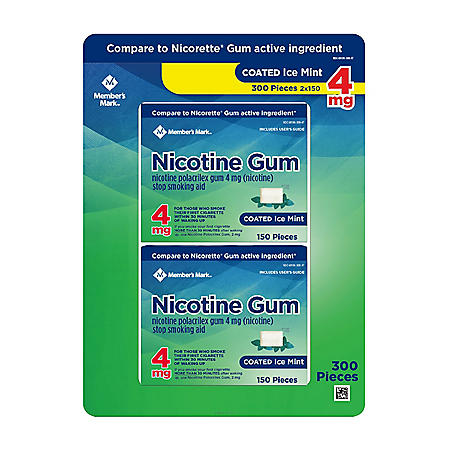 Member's Mark 4 mg Nicotine Polacrilex Gum, Coated Mint Flavor (300 ct.)