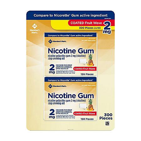 Member's Mark 2 mg Nicotine Polacrilex Gum,  Coated Fruit Flavor (300 ct.)