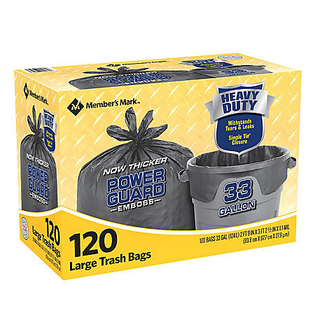 Member's Mark Power Guard Large Trash Simple Tie Bags (33 gal., 120 ct.)