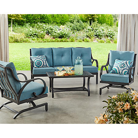Member's Mark Harbor Hill 4-Piece Deep Seating Set, Cast Lagoon
