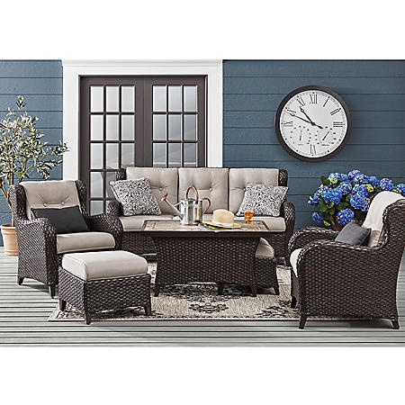 Member's Mark Agio Heritage 6-Piece Deep Seating Set with Sunbrella Fabric - Dove
