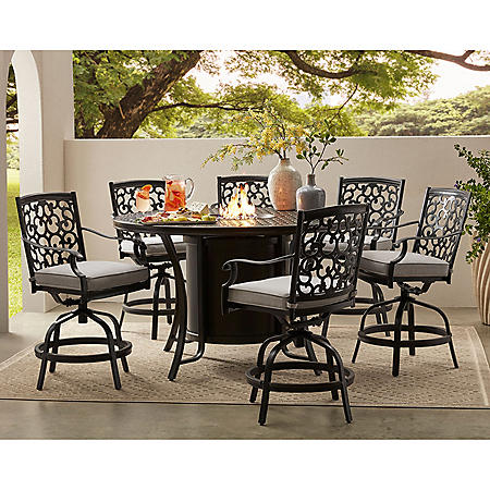 Member's Mark Agio Hastings 7-Piece High Dining with Fire Pit and Sunbrella Fabric