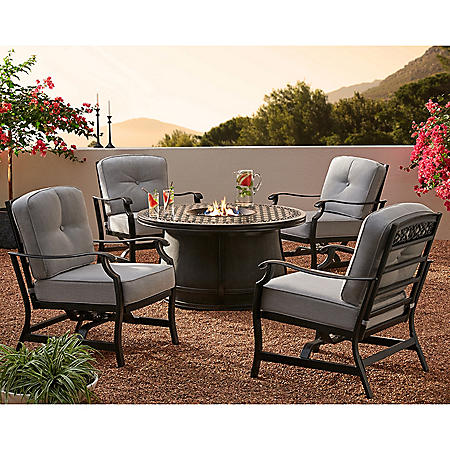 Member's Mark Agio Hastings 5-Piece Fire Pit Chat Set with Sunbrella Fabrics