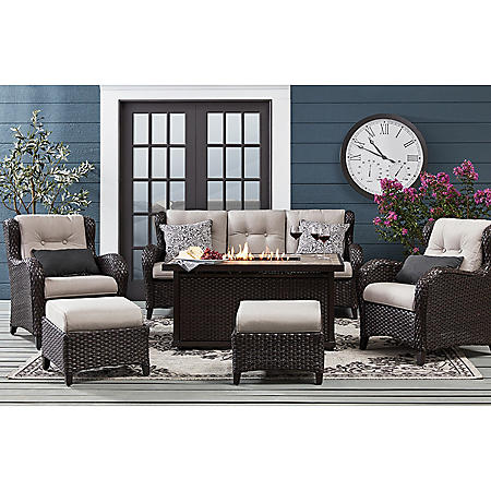 Member S Mark Agio Heritage 6 Piece Deep Seating Fire Pit
