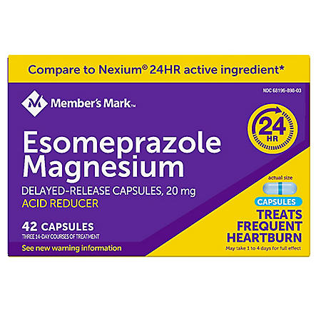 Member's Mark Esomeprazole Magnesium Delayed Release Acid Reducer Capsules, 20 mg (42 ct.)