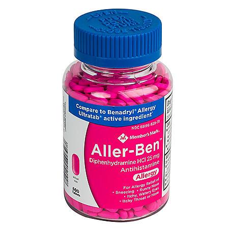 Member's Mark 25mg Aller-Ben, Diphenhydramine HCL, (600 ct.)