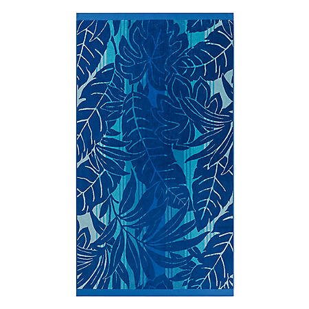 ADULT BEACH TOWEL HAVALA LEAVES BLUE