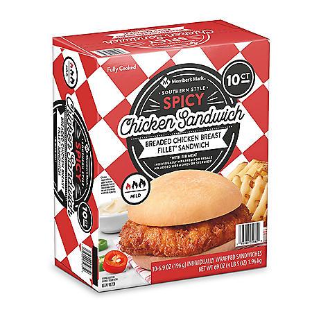 Member's Mark Southern Style Spicy Chicken Sandwich, Frozen (10 ct.)