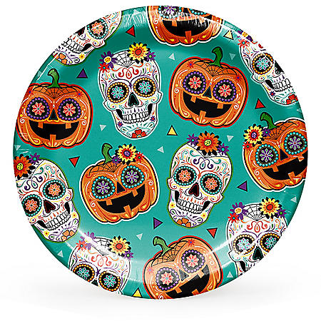"Member's Mark Sugar Skull and Pumpkin Fiesta Paper Plates 10"" - 90 ct."