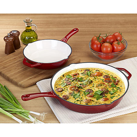 """Member's Mark 9"""" and 13"""" Cast Iron Enamel Skillet, 2-Pack (Assorted Colors)"""