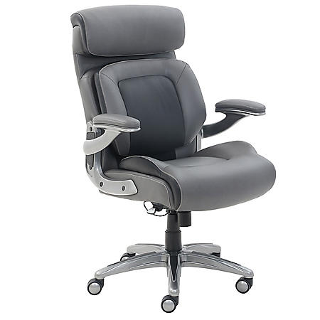 Wellness By Design Articulating Lumbar Support Manager Chair, Bonded Leather (Supports 275 lbs) - Gray/Black